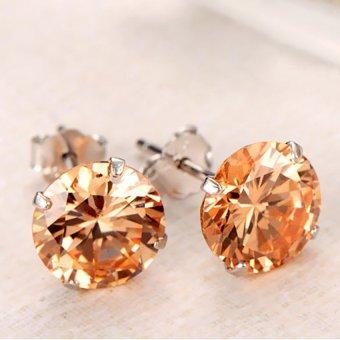 HKS Ear Stud 925 Sterling Silver Quartz Crystal Ear Clip Earring Champagne 7mm - Intl