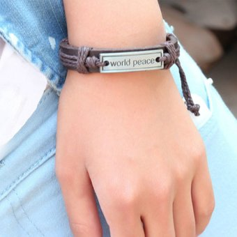 HKS Girl Boy Braid Bracelet Unisex String Band Bangle World Peace Plate - Intl - picture 2