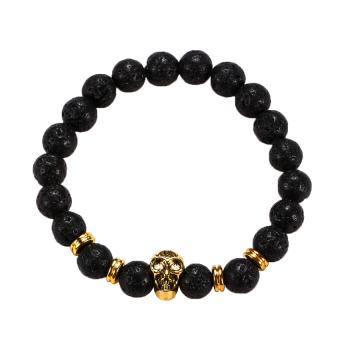 HKS Golden Skull/Black Lava Rock Beaded Shamballa Stretch Energy Bracelet - Intl