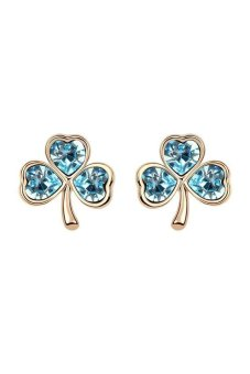 HKS HKS3939Qs Clover Austria Crystal Earrings Ocean Blue Champagne Gold - Intl - picture 2
