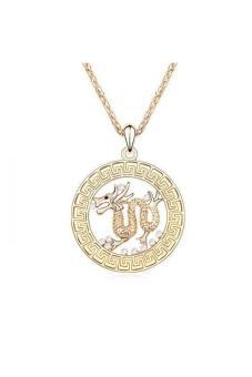HKS HKS81022Qs Dragon Cloud Austria Crystal Necklace White Champagne Gold - Intl