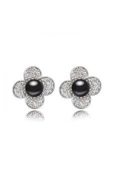 HKS HKS83036Qs Water Flowers Austria Pearl Earring Black - Intl