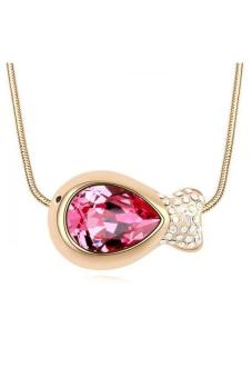 HKS HKS84703Qs Love Fish Austria Crystal Necklace Rose Red Champagne Gold - Intl
