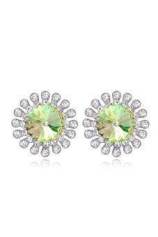 HKS HKS88388Qs The Flower Of Happiness Austria Crystal Earrings Luminous Green - Intl