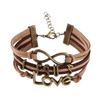 HKS Jesus Love Pendant Braid Bracelet Unisex String Band Bangle - Intl