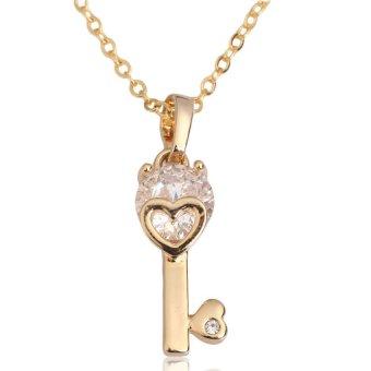 HKS Love Key Pendant Necklace Lady Crystal Zircon Jewelry Gold Filled - Intl