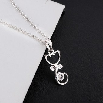 HKS Lovely Cat Shape With Bowknot Pendant 18K White Gold Plated Necklace (Silver) - Intl