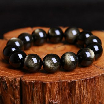 HKS Natural crystal obsidian gold bracelet men Obsidian Ms. bracelets beads natal sheep lovers Lucky jewelry - delicate female models bead diameter 8mm - Intl