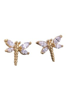 HKS New Fashion 18K Gold Plated Ear Stud Lovely Dragonfly Crystal Stud Earrings - Intl