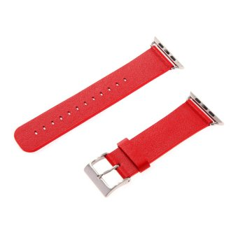 HKS New Genuine Soft Leather Strap Bracelet Band for Apple Watch Red 42mm - Intl