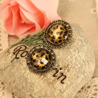 HKS Pair of Retro Leopard Style Round Earrings Earbobs Eardrop Ear Pins for Women - Intl - picture 2