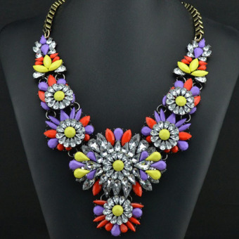 HKS Rainbow Flower Choker Chunky Shourouk Slap-up Necklace Purple+Yellow+Red - Intl - picture 2