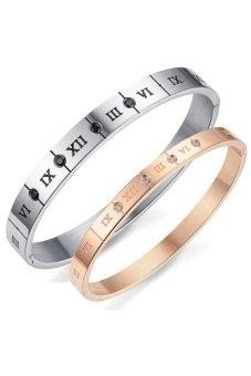 HKS S and F Titanium Steel Zircon Lover Bangle (Gold/Silver) - Intl