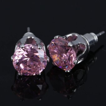 HKS Twinkling Crystal Earrings Woman Ear Stud Zircon Jewelry Silver Plated - Intl - picture 2