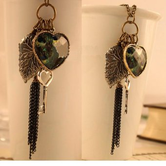 HKS Vintage Style Bohemia Tassel Peacock Feather Love Heart Leaf Necklace - Intl - picture 2