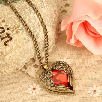 HKS Vintage Women Red Rhinestone Peach Heart Wing Pendant Necklace Chain - Intl - picture 2