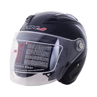 HNJ 518 Open Face Safe and Convenient Motorcycle Helmet-(Black)