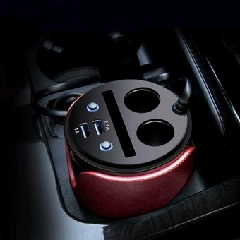 HSC HSC-200 Car Cup Charger 2.1A/1A Dual USB Ports Car 12V-24VCharger With 2-Socket Cigarette And Card Socket - intl