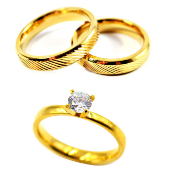 I am Wengski Liam Couple Wedding Ring (Gold) with I am WengskiPlain Engagement Ring (Gold)