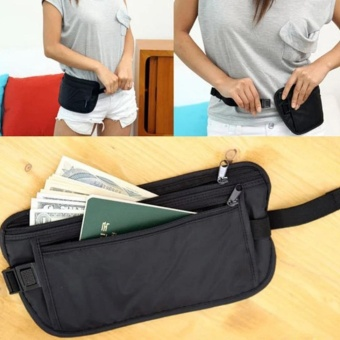 iBelieve Travel Waterproof Sport Pouch Bag Hidden Anti-theft Zipper Money Waist Belt Holder Pocket - intl