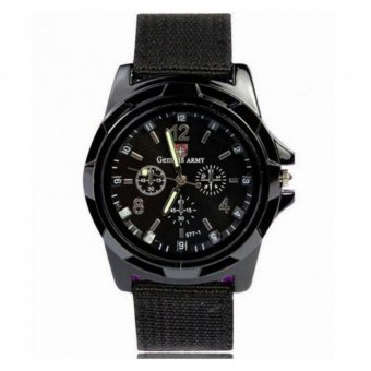Harga GEMIUS ARMY Military Sport Style Army Men's Black Canvas Strap Watch (black) #29317