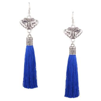 Harga Fashion National Retro Tassel Earrings Blue - intl