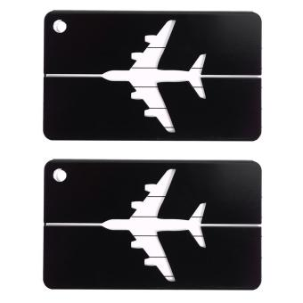 Harga 2PCS Aluminium Travel Luggage Tags Name Address ID Holder Label (Black) - intl