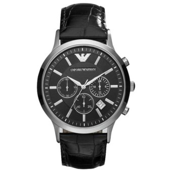 Harga Emporio Armani AR2447 Classic Black Dial New Style Mens CasualLeather Watches Luxury Quartz Fashion Wristwatch - intl