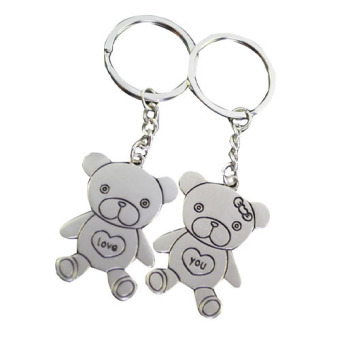 Harga Fang Fang Stainless Steel Chain Bear Lovebirds Charm Key Ring (Silver)