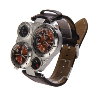 Harga Men OULM Military Army Dual Time Zones Big Dial Leather Sports Watch Brown