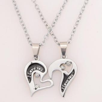 Harga BUYINCOINS Men Women Lover Couple I Love You Heart Pendant Stainless Steel Chain Necklace