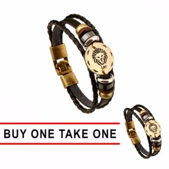 Harga GMY Buy One Take One Men and Women Zodiac Sign Leather Bracelet (Leo)