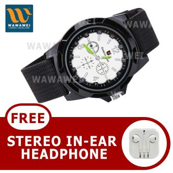 Harga Wawawei GEMIUS ARMY Military Sport Style Army Canvas Strap Watch With Free Stereo Earphone Color May Vary(Black/Silver)