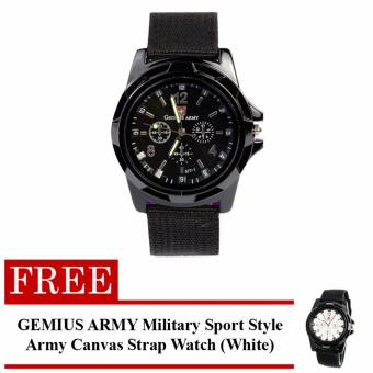 Harga GEMIUS ARMY Military Sport Style Army Men's Black Canvas Strap Watch with FREE GEMIUS ARMY Military Sport Style Army Canvas Strap Watch (White)