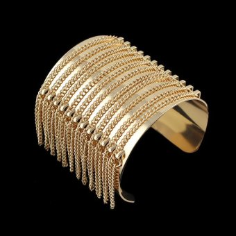 Harga Gold Color Big Cuff Bracelet Punk Summer Style Wide Gold Chain Tassel Bangles