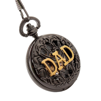 Harga ooplm Antique DAD FOB Pocket Watch Necklace hollow mechanical man father's Day gift P289 ECS002254 (Black)