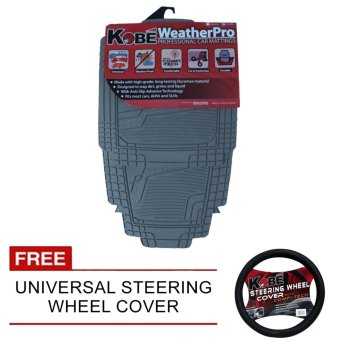 Harga NFSC-WeatherPro Professional Car Matting (Grey) with Free Universal Steering Wheel Cover