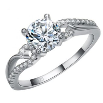 Harga 925 Silver Zircon Angel Wing Engagement Bridal Wedding Ring