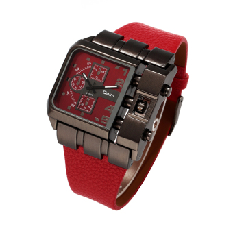 Harga 2016 High Quality OULM 3364 Men's Casual PU Band Originality Watch (red)