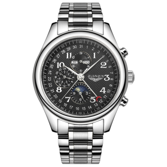 Harga GUANQIN GJ16011fs Automatic Men Steel Watch Perpetual Calendar Chronograph Moon Phase (Black)