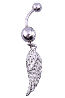 Harga 3D Feathers Wing Woman Belly Button Ring Silver