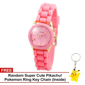 Harga Geneva Little Nikka Women's Silicon Strap Watch (Baby Pink) with Free Super Cute Pikachu Key Chain