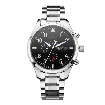 Harga GUANQIN Automatic Mechanical Watch Business Sports Stainless Steel Watch Waterproof Luminous Self-Wind Watch (Silver) - Intl