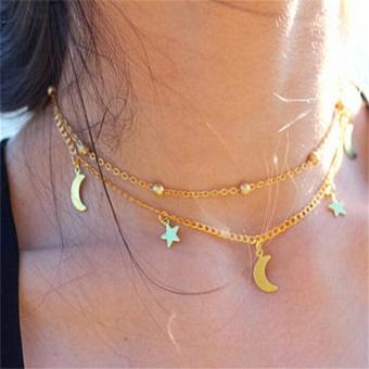 Harga Double-deck Star Moon Pattern Necklace Simple Style Short Gold Silver Chain - intl