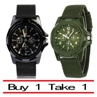 Harga GEMIUS ARMY Military Sport Style Army Men's Black/Green Canvas Strap Watch