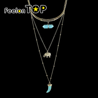 Harga Feelontop Tibetan Design Multilayers Elephant Resin Stone Pendant Long Necklaces(g-blue)