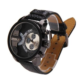 Harga OULM Big Round Dial Dual Time PU Leather Band Casual Quartz Watch (Black)