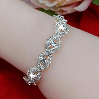 Harga Women Crystal Bracelet Infinity Rhinestone Bangle for Gift - intl