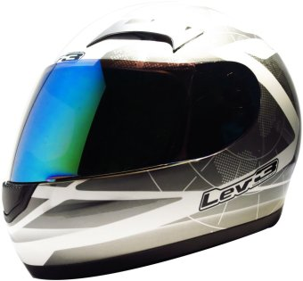 Lev3® FullFace BJ-9900 Galaxy Motorcycle Helmet (White/Silver) Price Philippines