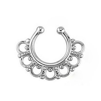 Phoenix B2C U-shape Non Piercing Clip-on Nose Ring Hoop Fake Septum Hanger Clicker Jewelry (Silver)- Intl Price Philippines